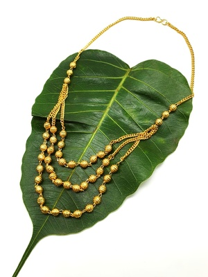 Women's Pride Necklace Set Multi Strand Gold Plated Triple Hain 3 Layer Gundla Mala Big Golden Mani Chain Mangalsutra