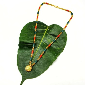 Women's Pride Mangalsutra Gold Laxmi Coin Pendant Green Orange Beads Single Line Layer Short Mangalsutra Necklace