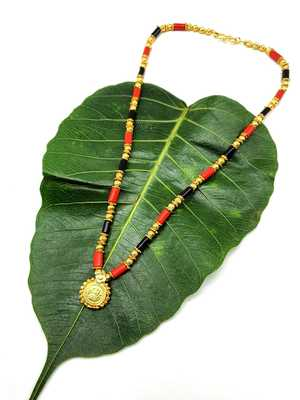 Women's Pride Mangalsutra Gold Plated Laxmi Coin Pendant Blue Orange Beads Single Line Layer Short Mangalsutra Necklace
