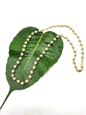 Women's Pride Necklace Traditional Gold Plated White Pearl Meenakari Beaded mala Chain Mangalsutra Necklace Jewellery