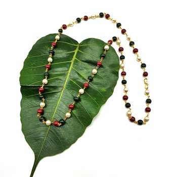 Women's Pride Necklace Traditional Red Green and White Pearl Meenakari Beaded mala Necklace Gold Mangalsutra Jewellery