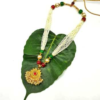 Women'S Pride Necklace Multi Strand Golden Pendant With Red Stone Multicolor Bead Mala Multi Layer Mangalsutra Jewellery