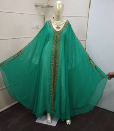 Green & White Zari Work Chiffon Polyester Islamic Party Wear Festive Kaftan Jacket