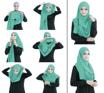 Teal Color Stitched Chiffon Lycra Instant Hijab Scarf For Women