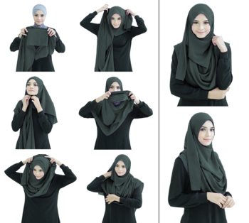 Olive Grey Color Stitched Chiffon Lycra Instant Hijab Scarf For Women