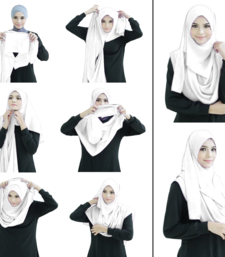 White Color Stitched Plain Instant Hijab Scarf For Women