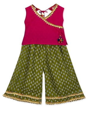 ANGHRAKHA STYLE SHORT TOP WITH PLAZZO