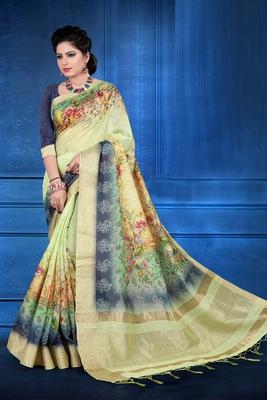 Light yellow woven art silk saree with blouse