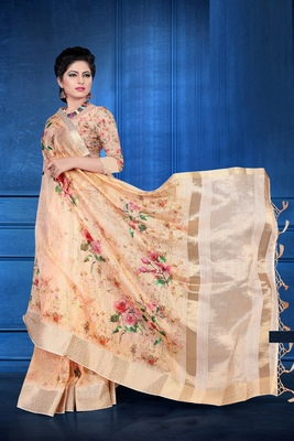 Light peach woven art silk saree with blouse