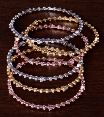 Gold, Rose Gold and Rhodium Plated Three Pairs of AD Bangles BD408