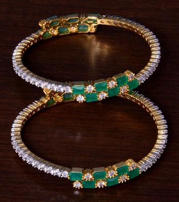 Emerald and AAA CZ Embellished AD Bangles BD409