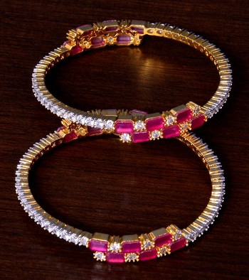 Ruby and AAA CZ Embellished AD Bangles BD410