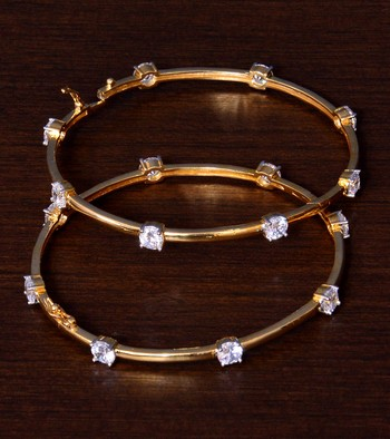 Gold Plated AAA CZ Embellished Openable AD Bangles BD411
