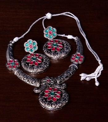 Stone Embellished Silver Oxidised Designer Necklace cum Earrings 317FNN156