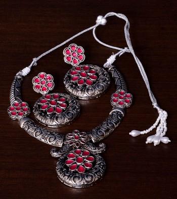Stone Embellished Silver Oxidised Designer Necklace cum Earrings 317FNN157