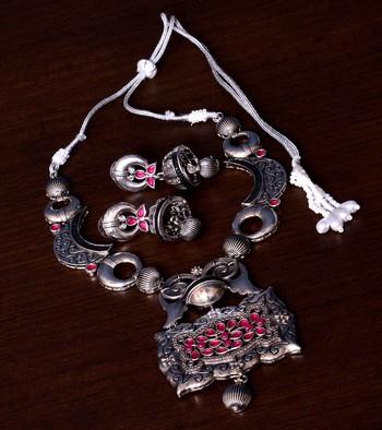 Stone Embellished Silver Oxidised Designer Necklace cum Earrings 317FNN159
