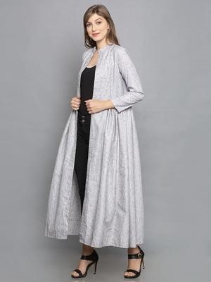 Grey FULL SLEEVE SHRUG WITH GATHERED PANELS ON WAIST