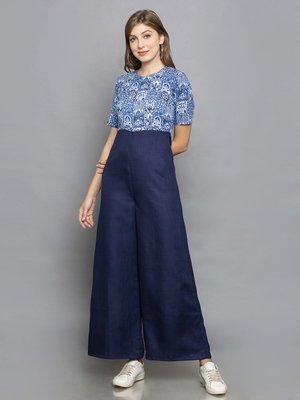 Blue SCREEN PRINTED JUMPSUIT WITH FLARED PANTS