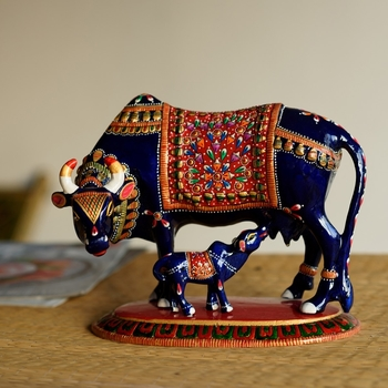 Meenakari Metal Black Cow And Calf Figurine
