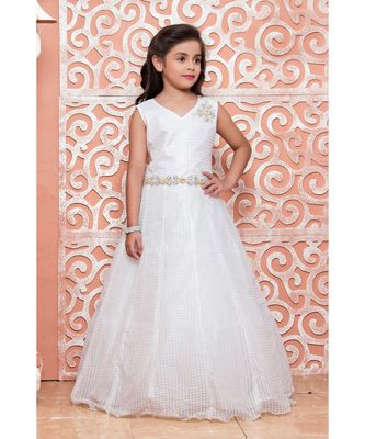 white embroidered polyester kids girl gowns