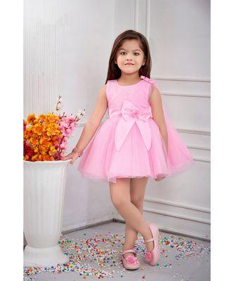 Pink woven satin kids frocks
