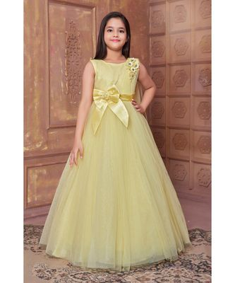 yellow woven satin kids girl gowns