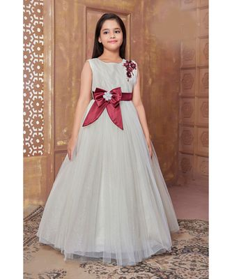 Maroon woven satin kids girl gowns
