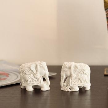 Set of 2 Pure White Polyresin Elephants
