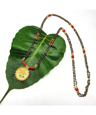 Mangalsutra Golden Lakshmi Coin Pendant Mangalsutra Black Orange Coral Beads Double Line Layer Long Necklace
