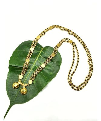 Mangalsutra Golden Vati Pendant Mangalsutra Black Gold Beads Laxmi Coin Double Line Layer Long Chain Necklace