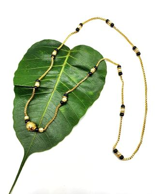 Mangalsutra Big Golden Mani Pendant White and Black Beads Single Line Layer Long Chain Mangalsutra Necklace