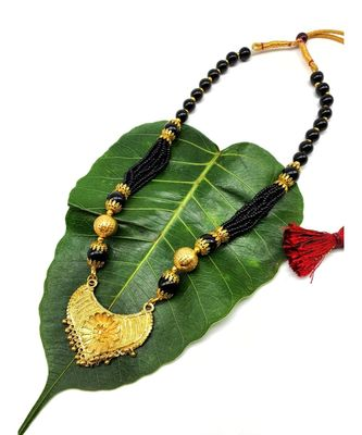 Mangalsutra Traditional Antique Golden Pendant Mangalsutra Black Big Bead Multi Strand Layer Short Necklace