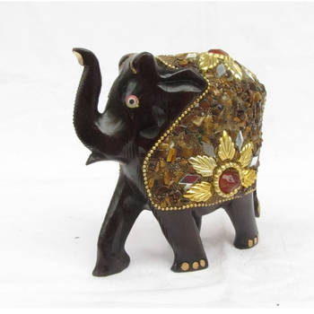 Decorative Saluting Elephant coated with Red Stone
