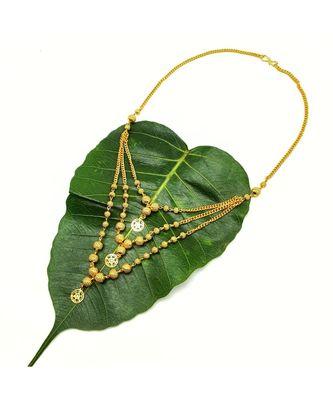 Necklace Multi Strand Gold Plated Triple Hain 3 Layer Gundla Mala Big Golden Mani Pendant Chain Mangalsutra