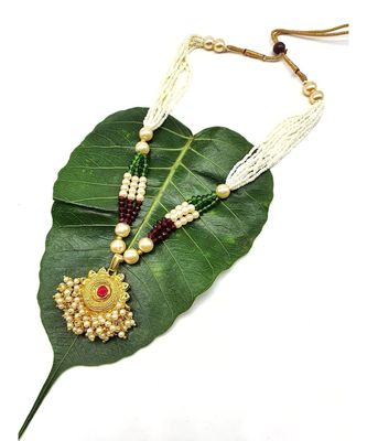 Necklace Multi Strand Golden Pendant With Pink Stone Multicolor Bead Mala Multi Layer Mangalsutra Jewellery