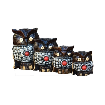 Set of 4 Wooden Jewelled Owl