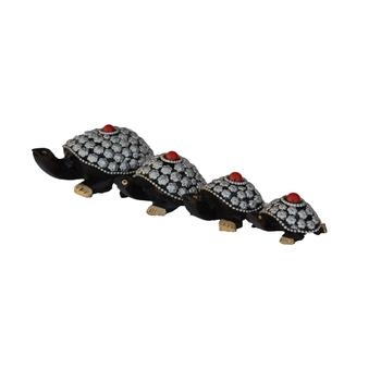 Set of 4 Wooden Jewelled Tortoise