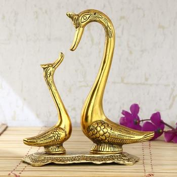 Loving Golden Swan Couple Figurine