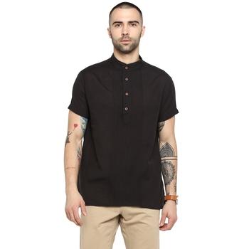 black plain Cotton stitched short kurta
