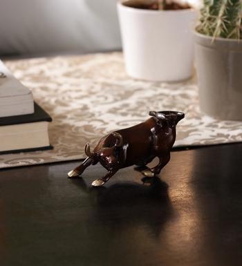 Brass Charging Bull Brass Figurine