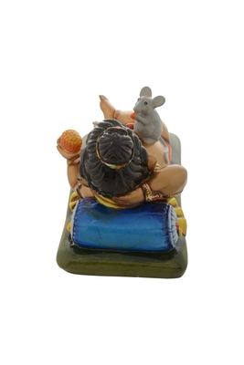 Premium Figurine of Resting Lord Ganesha with Mouse