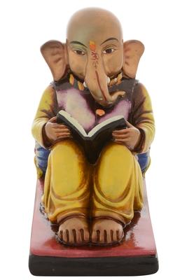 Premium Figurine of Lord Ganesha Reading Book