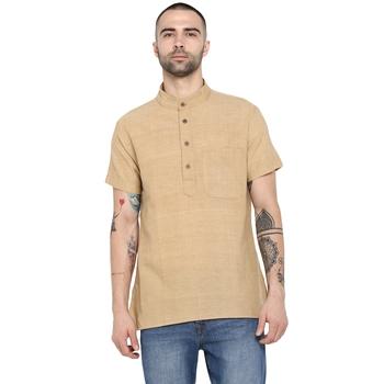 beige plain Cotton stitched short kurta