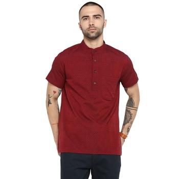 Red Woven Cotton Stitched Short Kurta