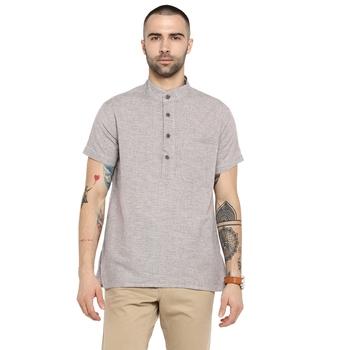 grey Woven Cotton stitched short kurta