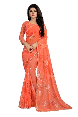 Light orange printed georgette saree with blouse