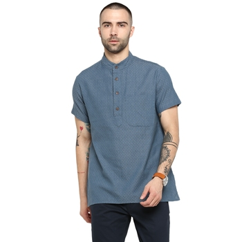 blue Woven Cotton stitched short kurta