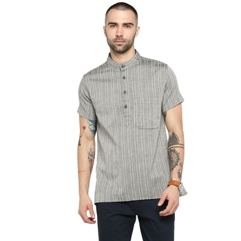Grey Woven Cotton Stitched Short Kurta