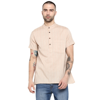 beige Woven Cotton stitched short kurta