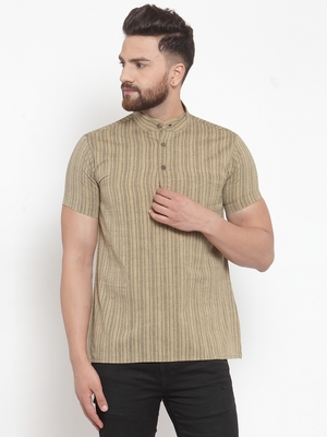 beige plain Cotton stitched short kurta